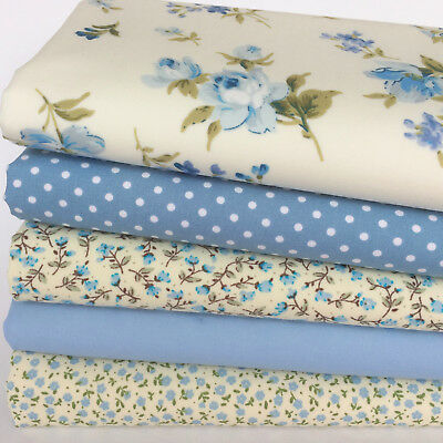 Bundle 5 fat quarters shabby chic pretty blue floral mix 100/% cotton