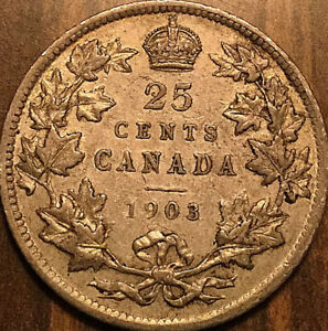 1903-CANADA-SILVER-25-CENTS-SILVER-QUARTER-Very-nice-example