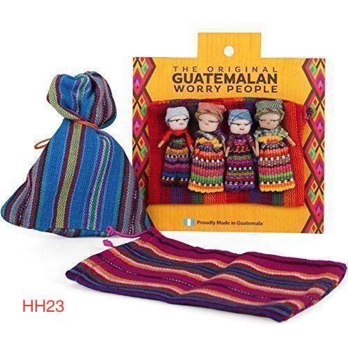 ca. 10.16 cm Bambole Guatemala Preoccuparti Bambola Set Di 4 in Borsa COLORATA idea regalo