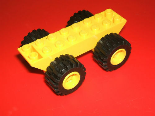 Lego YELLOW Technic Vehicle Chassis Base with 4 x Black Rubber Wheels
