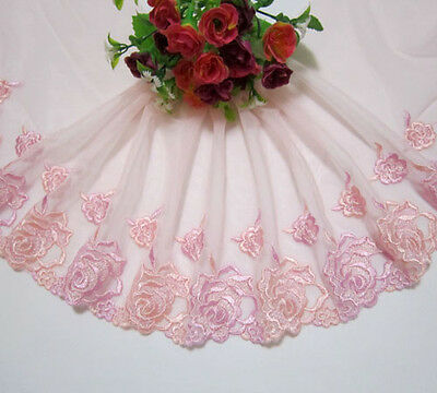 """7""""*1yard Embroidery Flower Tulle Lace Trim Sewing/Craft Pink"""