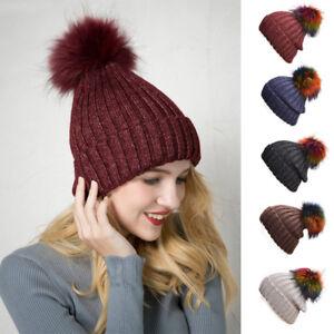 655f42498cbaa Women Winter Hats Ladies knitted Beanies Big PomPom Crochet Spark ...