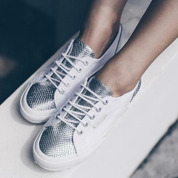 SUPERGA  argent blanc LEASNAKE 2750 baskets SNAKE