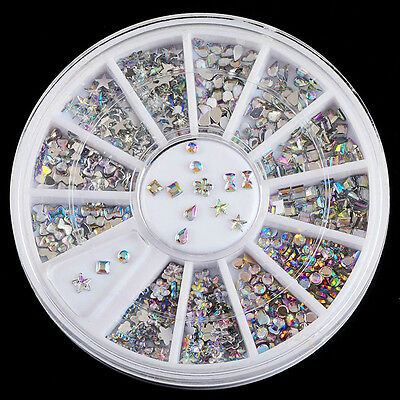 New 6 Mix Colorful Acrylic Nail Art Tips Crystal Glitter Rhinestone Decoration