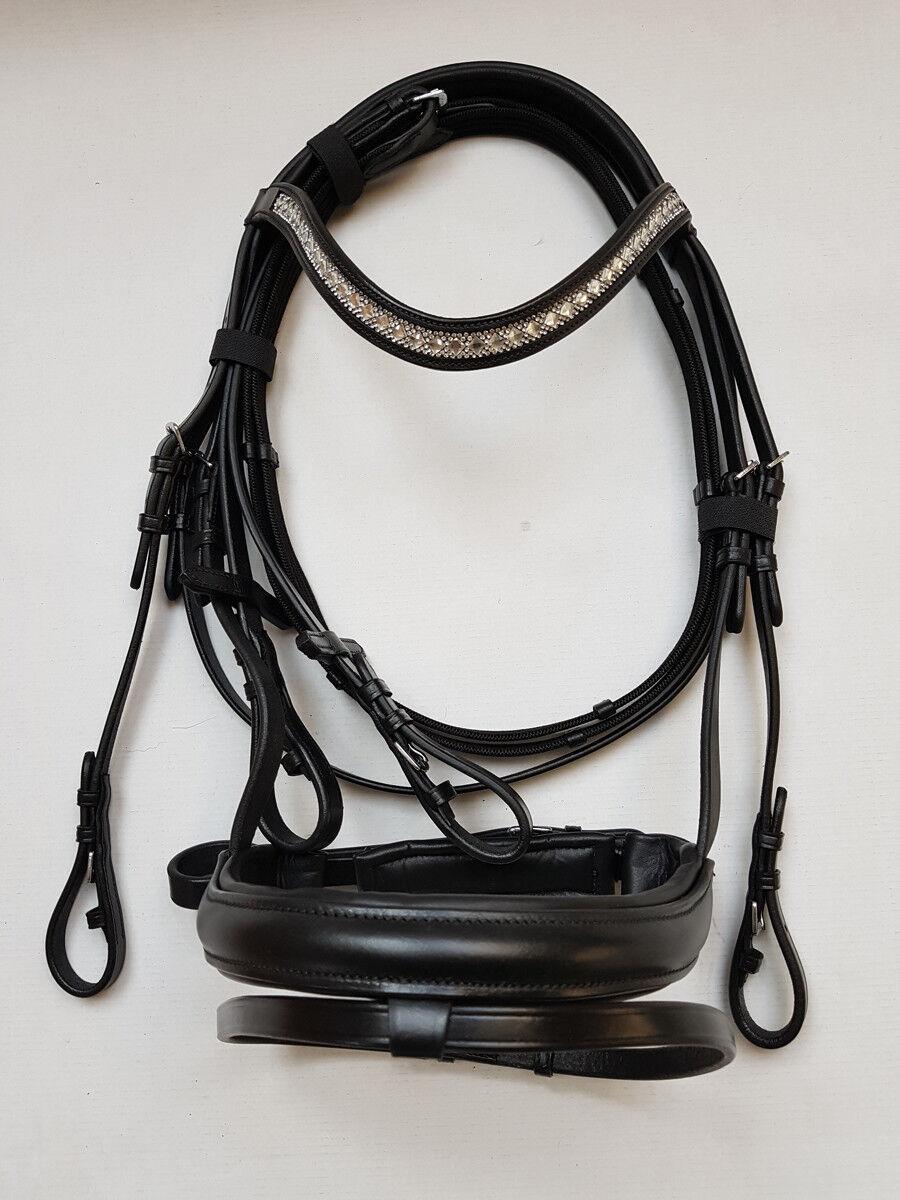 Nilo Trense Hanna, briglie bada nero con strass nastro davantiale, dimensioni Pony