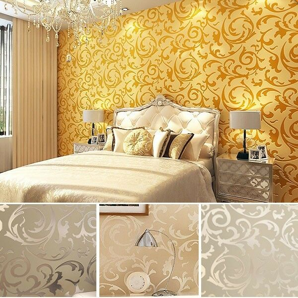 High-Class Luxury Embossed Patten/Textured Wallpaper Rolls,Silver,Gold 4 colors