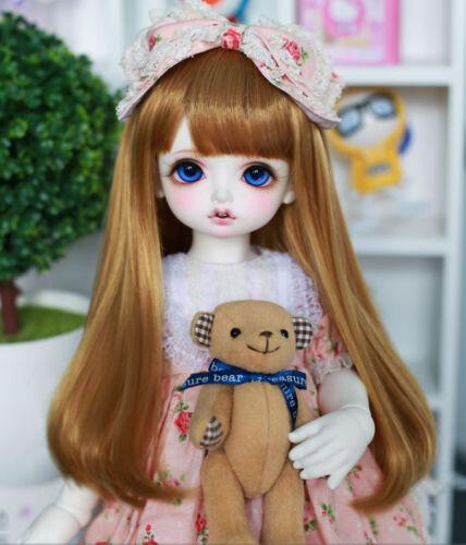 7-8 1/4 BJD Doll Straight Long Wig Hair Golden Brown Neat Bangs Buckle Tips UL-m