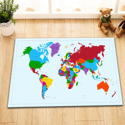 Retro World Map 100/% Polyester Fabric Shower Curtain Set Bathroom Decor w// Hooks