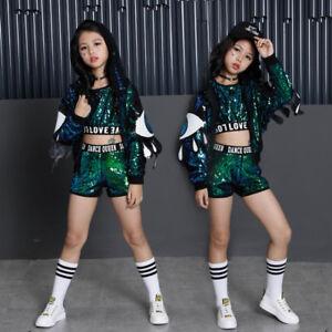 169e4708817d Steet Dance Costumes Girls Children Modern Jazz Hip-Hop Dancewear ...