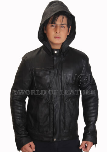 Men Real Sheep Leather Black Hooded Slim Fit Jacket