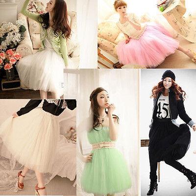 US Stock!New HOT Women Princess Fairy Style 5 layered Tulle Dress Bouffant Skirt
