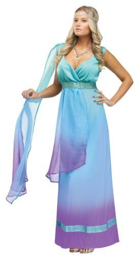 Womens Goddess Costume Long Blue Purple Fancy Dress Gown Egyptian Greek Adult