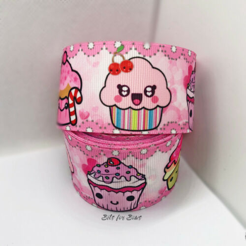 1 yardas Rosa Kawaii Cupcake Feliz De Cinta de Grogrén Lazo De Ancho 38mm Reino Unido Hágalo usted mismo Craft