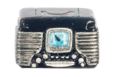 MINIATURE DOLLHOUSE 1:12 SCALE 1950s RETRO BLACK RADIO T8451