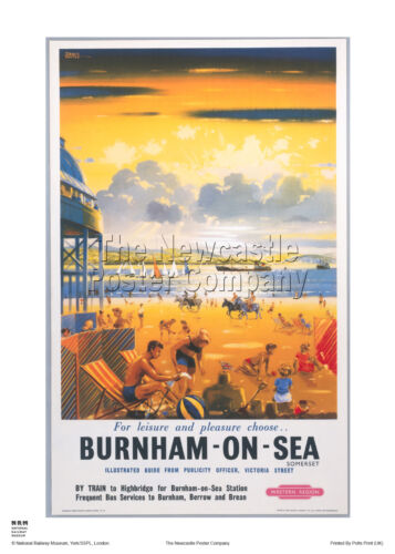 BURNHAM ON SEA SOMERSET RAILWAY TRAVEL POSTER VINTAGE RETRO ADVERTISING