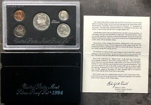 USA-1994-SILVER-Proof-Set-San-Francisco-Original-Box-PP-polierte-Platte-1c-50c
