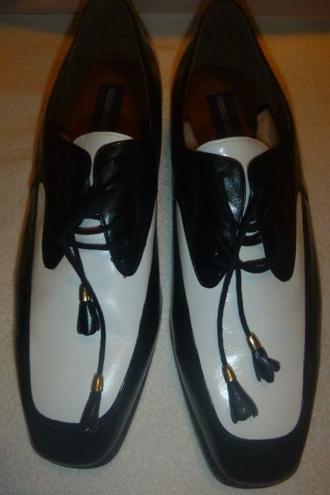 NEW Men Georgio Brutini Oxford Square Toe Leather Designer Dress Wing Tips Spats