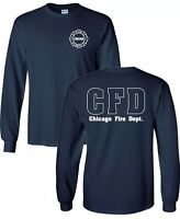 Chicago Fire Show Long Sleeve Navy Tv Show Fire Department T-shirt Duty Shirt
