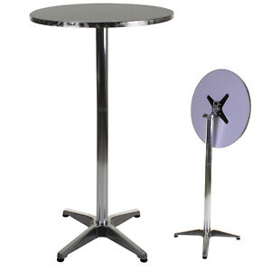 Image Is Loading Marko Aluminium Lightweight Chrome Bistro Round High Table