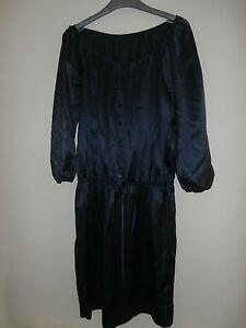 de Bcbg S azul vestido seda talla Maxazria cintura x4p4qrwIH