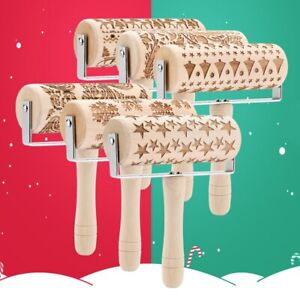 Christmas Wooden Rolling Pin Engraved Roller Pin Embossing Dough Roller Embossed Rolling Pin with Christmas Elk Snowflake Pattern Kitchen Tool for Baking Embossed Cookies Fondant Cake Dough Pastry