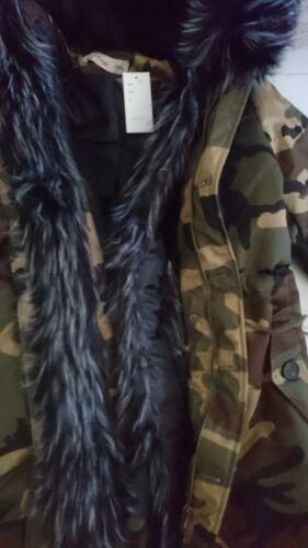 Jacket Ladies Size Trim zell Camouflage 12 Black L Coat Parka Winter Fur K 40 q815Cw4nC