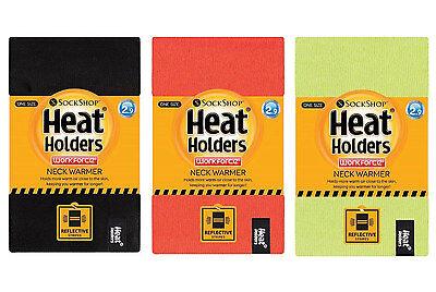 Heat Holders - Mens Hi Vis Winter Warm Insulated Thermal Neck Warmer Reversible Orange