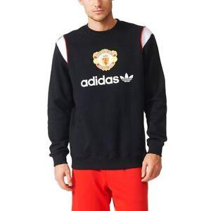 Details zu Adidas Original Herren Manchester United Enge Passform Sweatshirt Retro Mufc
