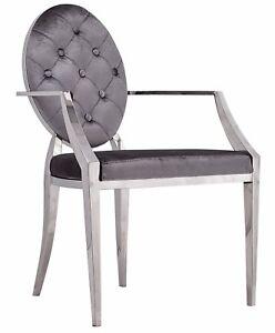 Glamour-Fauteuil-Chrome-Chaise-Gris-Velours-Louis-Vintage-Acier-Argent-Salon