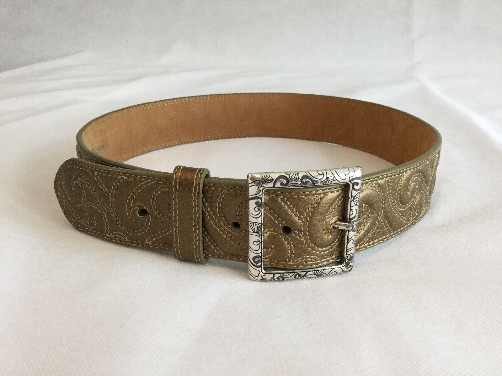 Brighton Leather Belt Size 32 Gold Bronze Silver Buckle Paisley Women's