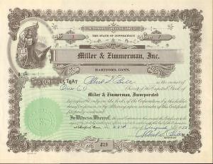 Miller-amp-Zimmerman-gt-1933-Hartford-Connecticut-stock-certificate-share