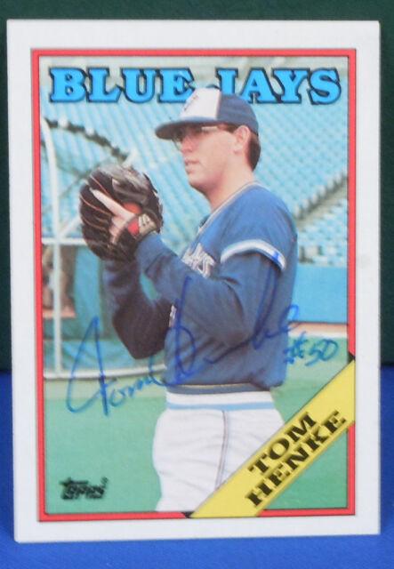 303d9128493 TOM HENKE signed 1988 Topps card   220 TORONTO BLUE JAYS