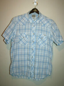Mens-LUCKY-BRAND-Blue-Short-Sleeve-Embroidered-Pearl-Snap-Western-Shirt-Large-L