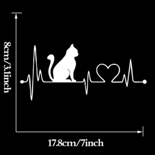 Pet Cat Heartbeat Lifeline Vinyl Decal Creative Car Stickers Car Wall StyliBLUS