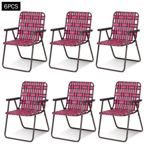 6PC Outdoor Folding Beach Chair Camping Lawn Webbing Chair Lightweight Furniture
