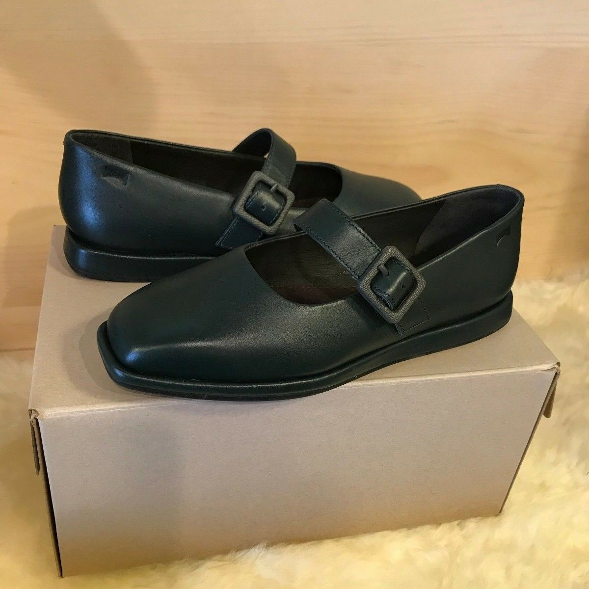 CAMPER Women K200226 Fidelia, Green Leather Buckle Mary Janes shoes, shoes, shoes, Size US 7 3ccffa