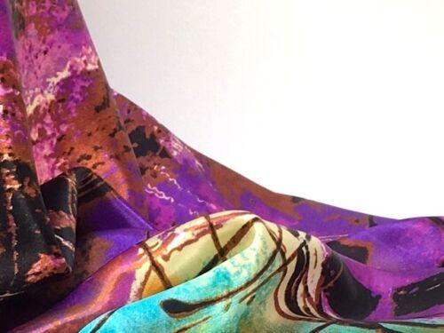 Sciarpa di Seta Rosso Ciliegia Rosa ocra menta verde dipinto ad olio lunga 160X50CM