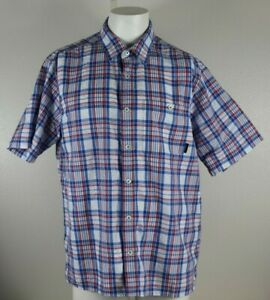 Orvis-Men-s-Size-Large-Red-White-Blue-Shirt-Plaid-Button-Front-Short-Sleeve