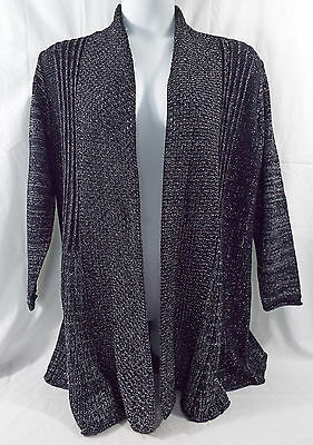 Women's Plus Size Fan Tailed Cardigan 1X Studio Works in Black & Silver Metallic