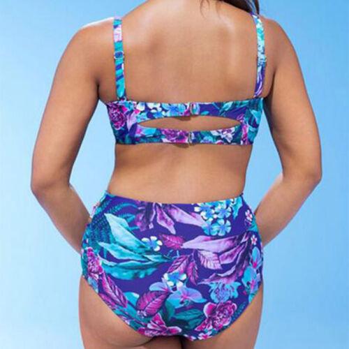 Plus Size Women Floral High Waisted Bikini Set Swimwear Swimsuit Bathing Suit UK