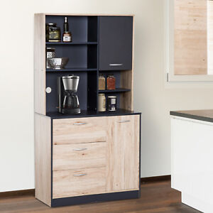 66-5-034-Kitchen-Storage-Pantry-Cabinet-Hutch-Buffet-Server-Microwave-with-2-Doors