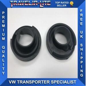 VW-T5-Transporter-Trasero-Inferior-Tazas-De-Suspension-De-Goma-De-Resorte-Par-Genuine-Parts