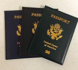 USA-Passport-Cover-Holder-NAVY-GREEN-or-BLACK-Travel-Wallet-Case-US