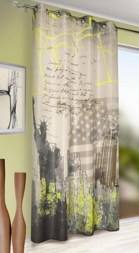Ösenschal blickdicht Fotodruck New York braun-grau-gelb