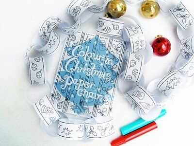 Eggnogg Colour In Christmas Paper Chains Decorations Kids Activity 16 Strips