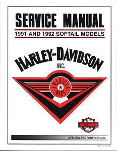 Details about 1991-1992 Harley Softail FLS FXS Repair Service Workshop on