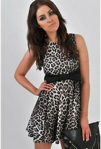 RED-CHILLI-CREAM-BLACK-LEOPARD-ANIMAL-BOW-SKATER-FLIPPY-A-LINE-PARTY-DRESS-8-S