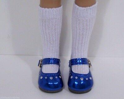 "DK BLUE Metallic Heart CF Doll Shoes For Dianna Effner 13/"" Little Darling Debs"