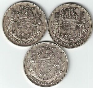 3-X-CANADA-50-CENTS-HALF-DOLLARS-KING-GEORGE-VI-SILVER-COINS-1937-1938-1939