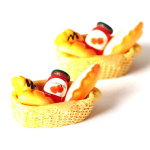 1Set 1:12 Dollhouse Miniature Food Toy jam bread Toast Basket Accessor ME